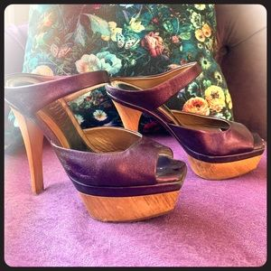 Marni size 36 purple metallic wood platform shoes